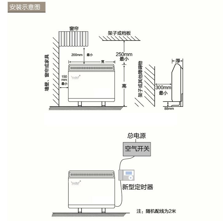 蓄热电暖器安装示意图